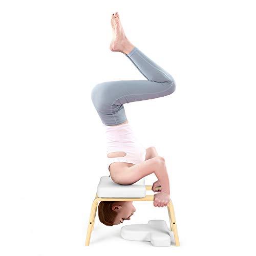 GOPLUS Yoga Kopfstandhocker, Inversion Stuhl mit EPE-Polster, Ergonomische Handstand Bank, aus Holz, Belastbar...