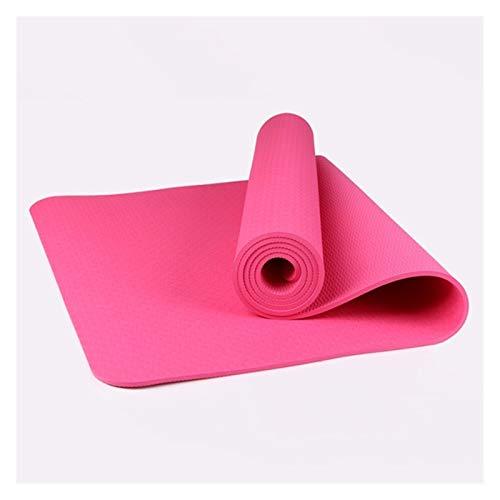MeiZi 1830 * 610 * 6mm Yoga Matte TPE rutschfeste Gymnastik Matte Pilates Workout MAT Fit Fit für Yoga Fitness-Gymnastik Haus mit Streifenbeutel (Color : Pink)