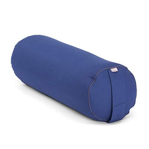 Bodhi Yoga Bolster ECO | 100% Bio-Baumwolle | Yogarolle mit Bio Dinkelfüllung | Waschbarer Bezug | Yogakissen rund für Restoratives Yoga Übungen | Groß 65 x 22 cm | dunkelblau