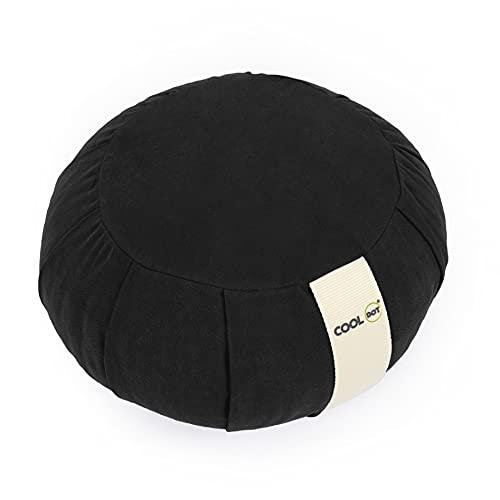 COOLDOT Zafu Yogakissen, rund, Meditation, abnehmbarer Bezug, Höhe 15 cm, Bezug außen Leinwand 100 % Baumwolle, Füllung Dinkelspelz, umweltfreundlich, pflegeleicht, Schwarz