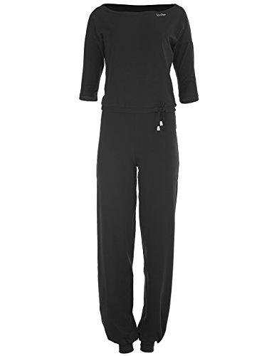WINSHAPE Damen 3/4-Arm-Jumpsuit WJS2, Fitness Freizeit Sport Yoga Pilates Jumpsuit, schwarz, S