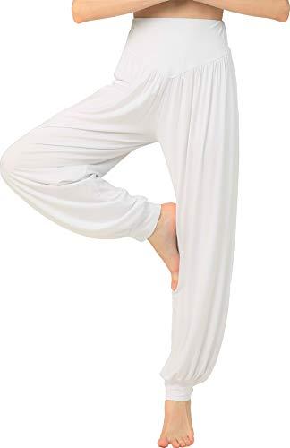 HOEREV Marke Super weiche Modal Spandex Harem Yoga Pilates Hosen, Gr.-3XL,Weiß