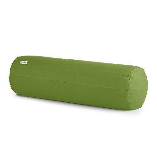 basaho Yoga Bolster Yogarolle | Bio-Baumwolle (GOTS-Zertifiziert) | Buchweizenschalen | Abnehmbarer und waschbarer Bezug | Yoga Rolle Yogakissen (Blattgrün)
