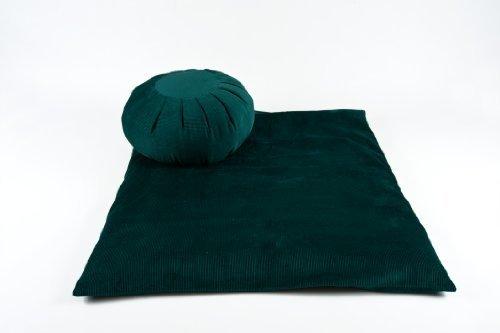 Meditations-Set Zafu + Zabuton aus Cordsamt, Grün