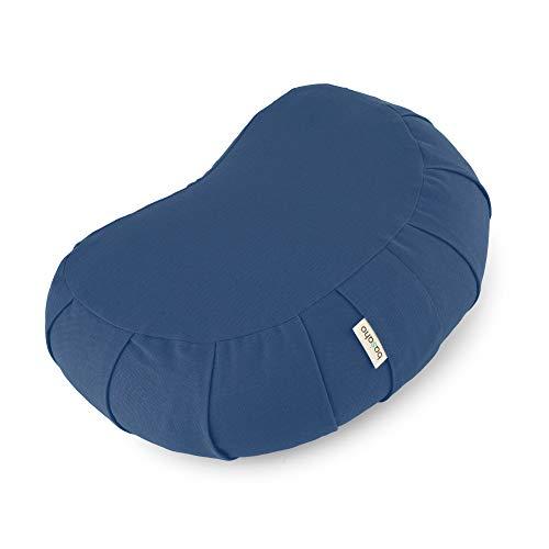 basaho Crescent Zafu Meditationskissen Yogakissen   Bio-Baumwolle   Buchweizenschalen   Abnehmbarer und waschbarer Bezug (Taubenblau)