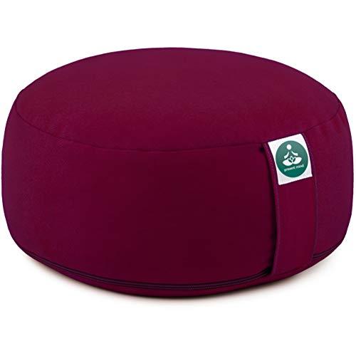 Present Mind Yogakissen Rund Zafu (Sitzhöhe 16 cm) l Farbe: Burgund l Yogakissen Meditationskissen Hoch l Hergestellt in der EU l Waschbarer Bezug l 100% Natürliches Yoga Sitzkissen