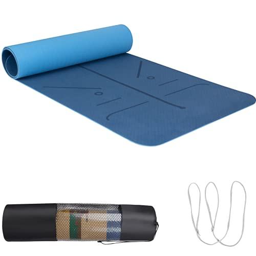 Yogamatte TPE, 183x66x0.6cm Yoga Mat mit Tragegurt&Tasche, Fitnessmatte rutschfest, Trainingsmatte mit Positionslinie für Workout, Blau