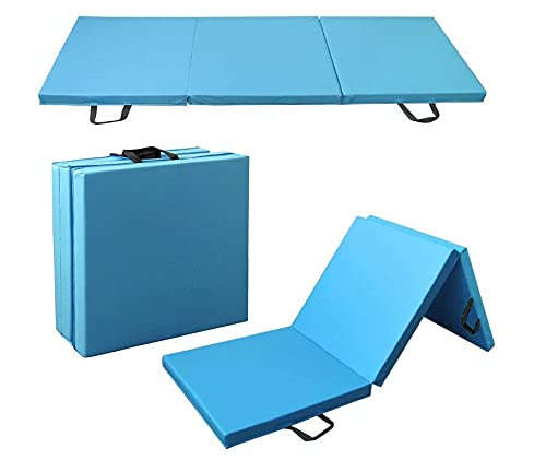 YJYDD Klappbar Turnmatte Gymnastikmatte Weichbodenmatte Yogamatte Tragbar Fitnessmatte (Color : Hellblau-180 * 60 * 5cm)
