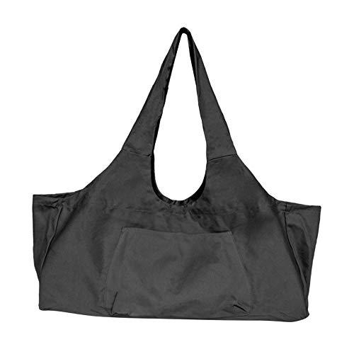 Unbekannt Große Tragbare Multicolor mit Seite Taschen Reiß Leinwand Yoga Matte Tasche für Männer Sport Gymtas Outdoor Reise Tragen auf Gym Camping - Schwarz
