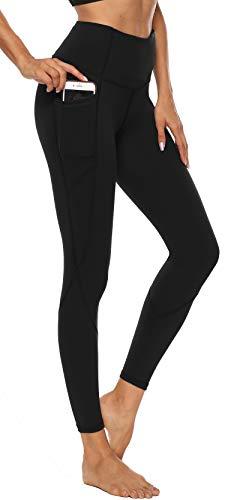 Persit Damen Yoga Leggings, Sport Tights Leggins Yogahose Sporthose für Damen, L, Schwarz
