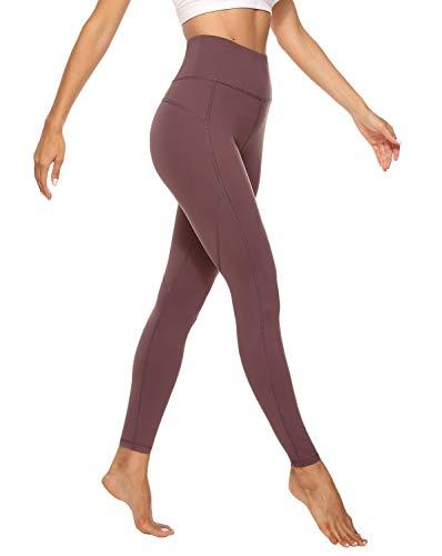 JOYSPELS Sporthose Damen Sportleggins Lang Leggings Yogahosen, Braunrot, S