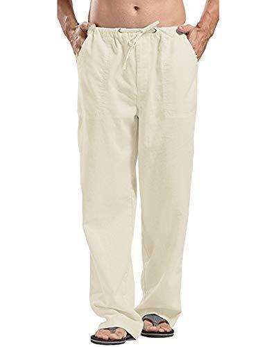 JINIDU Männer Cotton Yoga Beach Coole Lange Hosen Stretchy Drawstring Taillenhose, 1- Leichtes Khaki, M