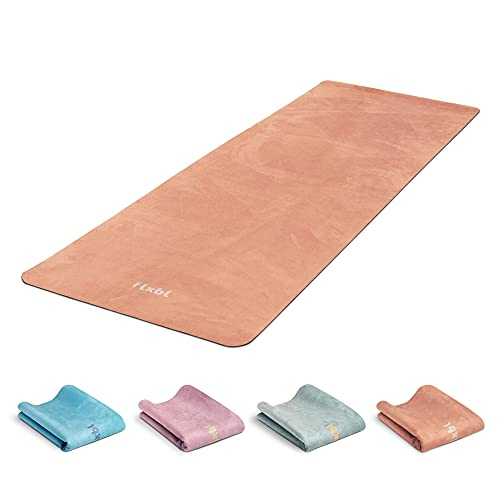 FLXBL Yoga Luxus Yogamatte Rutschfest - Waschbar – Dünn, Leicht und Faltbar für Reise - Nachhaltig und 100% Vegan (Terra)