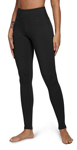 QUEENIEKE Yoga Leggings mit Tasche Klassische Bauchkontrolle Mittlere Taille Laufhose Workout Sporthose für Damen Farbe Schwarze Größe S(4/6)
