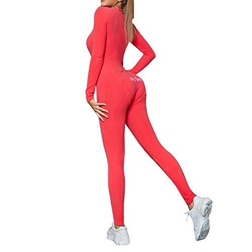 Koitniecer Damen One Piece Onesie Nachtwäsche Sexy Butt Button Back Flap Jumpsuit Pyjamas Bodycon Bodysuit Strampler (Red, XL)