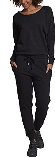 Urban Classics Damen Ladies Long Sleeve Terry Jumpsuit, Schwarz (Black 00007), Small