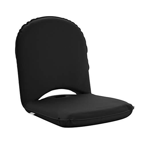 BonVivo Bodenstuhl Easy Smart - Faltbares Boden-Sitzkissen mit Lehne - Für Yoga & Meditation, zum Lesen oder als Gaming-Stuhl - Wasserdicht - Schwarz