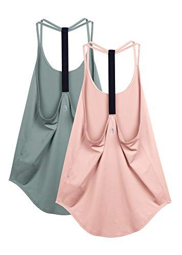 icyzone Damen Sport Top ärmellos Yoga Shirt Strappy Training Fitness Tank Top Gym Oberteile, 2er Pack (S,...