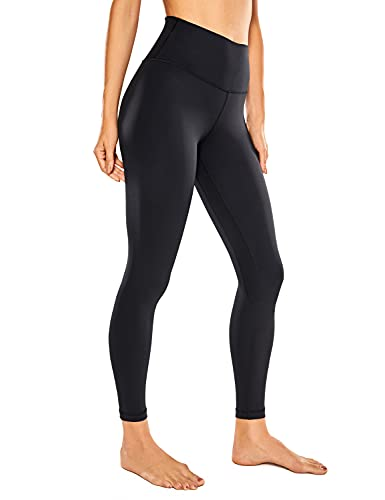 CRZ YOGA Damen Sports Yoga Leggings Hoher Taille Sporthose mit Tasche -63cm Schwarz 34