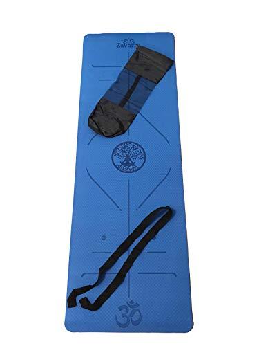 ZAVARRA - Yogamatte, Gymnastikmatte, Yogamatte gepolstert & rutschfest für Fitness Pilates Yoga & Gymnastik mit Tragegurt & Tragetasche -183 x 61 x 0,6cm (Blue)