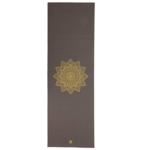 Bodhi Yogamatte RISHIKESH Premium 60 mit goldenem Mandala, Taupe