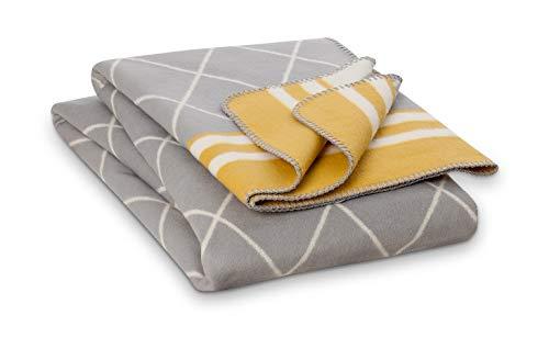 RIEMA® Baumwolldecke Lene aus 100% Bio-Baumwolle - perfekt für Herbst und Winter - Made in Germany - hochwertige Wolldecke 150x200 cm - Oeko-TEX zertifizierte Kuscheldecke grau/gelb