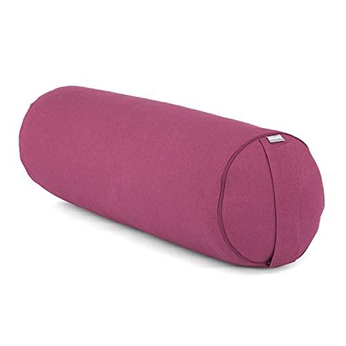 Bodhi Yoga- & Pilates-Bolster Ø 23 cm | Rolle mit Bio-Dinkelspelz-Füllung | Yogakissen für Restorative Yoga mit Trageschlaufe | Abnehmbarer Bezug (waschbar) aus Baumwolle (aubergine)
