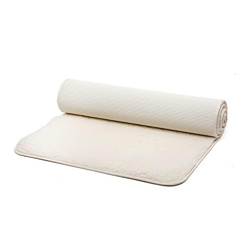 bodhi Schurwoll-Yogamatte Natur | Premium Schurwollmatte (umsäumt) | Extra Dicke & Weiche Schurwolle | 100% Schafschurwolle (Hochflor 1500 g/m²)| Rutschfest & Kuschelig | SURYA 75P | 200 x 75 cm