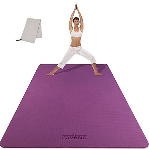 CAMBIVO Sportmatte Fitnessmatte Rutschfest, Gymnastikmatte Yogamatte XXL (183cm x 122cm x 6/8mm), Trainingsmatte aus TPE mit Handtuch für Sport, Yoga, Pilates, Gym, Zuhause