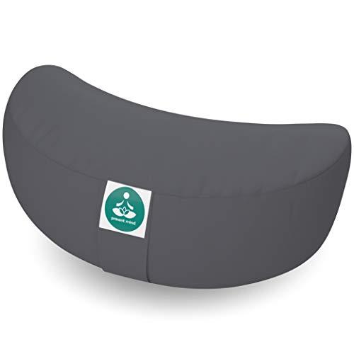 Present Mind Meditationskissen Halbmond - Sitzhöhe 15cm - Yogakissen - Zafu Halbmondkissen - Hergestellt in der EU (Zementgrau)