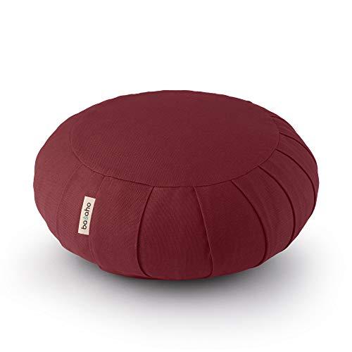 basaho Classic Zafu Meditationskissen Yogakissen   Bio-Baumwolle (GOTS-Zertifiziert)   Buchweizenschalen   Abnehmbarer und waschbarer Bezug (Tibetisches Bordeaux)