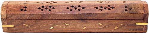 Bramble & Jones Räucherstäbchen-Aufbewahrungsbox aus massivem Holz, mit integriertem Aschefänger und Kegelbrenner, Braun, 33,8 x 7,2 x 7,2 cm