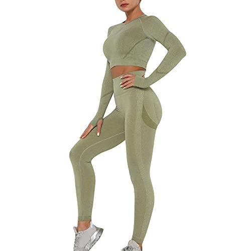 OEAK Damen Sportanzüge Jogginganzug Sport Sets Hosen und Sport Crop Top 2 Stücke Bekleidungssets Yoga Outfit Freizeitanzug Sportswear,Armeegrün C,S