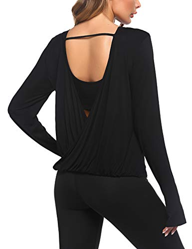 Lucyme Damen Langarmshirt Damen Sport Laufshirt Fitness Yoga Shirt Freizeit Yogashirt mit Daumenloch...