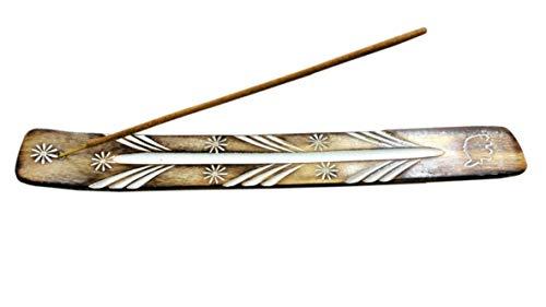 TICHI Räucherstäbchenhalter aus Holz, handgefertigt, mit weißem handbemaltem Muster, tolles Geschenk für jeden Anlass, Größe 25,4 x 3,8 cm, 2 Stück