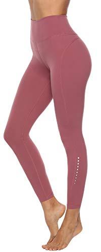 Persit Sport Leggings Damen, High Waist Sporthose Sportleggins Lang Laufhose Yogahose Yoga Leggins Dusty Rose - M