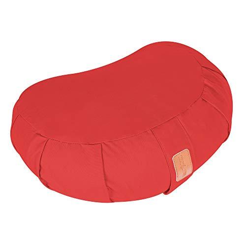 GORILLA SPORTS® Yoga-Kissen Halbmond Sitzhöhe 19 cm Rot – Meditationskissen mit waschbarem Baumwoll-Bezug und Bio-Dinkelfüllung