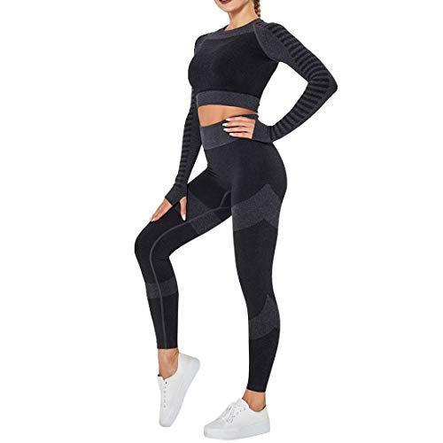 OEAK Damen Sportanzüge Jogginganzug Sport Sets Hosen oder Sport Crop Langarmshirt 2 Stücke Bekleidungssets...
