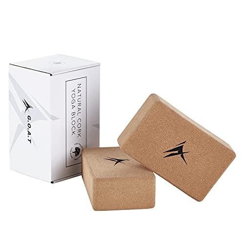 G.O.A.T Yoga Block, Yogablock Kork   Yogablock Cork 2er Set aus Naturkork   Yogaklotz (7.5cm x 14 cm x 23 cm) umweltfreundlich, rutschfest
