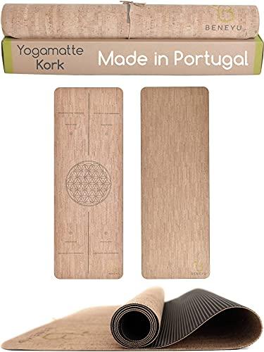 beneyu ® Langlebige & rutschfeste Kork Yogamatte - Made in EU - Schadstofffreie Yogamatte für Anspruchsvolle und Profis (190x70cm)
