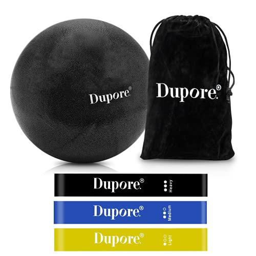 Dupore. Premium Soft Pilates Ball - Fitnessband Set - 23cm Gymnastikball Klein - Yoga Ball + 3 Sport Bänder aus hochwertigem Naturlatex INKL. 47 Trainingsübungen für EIN effektives Training