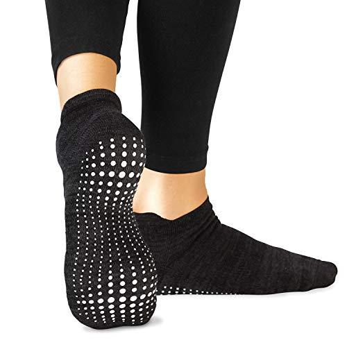 LA Active Grip Socken - 1 Paar - Yoga Pilates Barre Ballet Abs Noppen Rutschfeste (Schwarz, 40-44 EU)