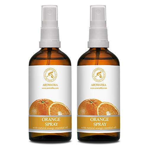Duftspray Orange - 2x100ml - Aromatherapie Raumspray Set mit Ätherischem Orangenöl - Orangen Öl Spray - Raumnebel - Lufterfrischer - Kissen- und Leinenspray - Orange Spray - Aromaspray