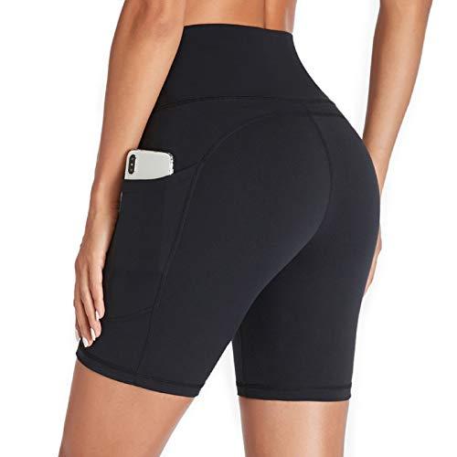 Gimdumasa Kurze Sporthose Damen Hohe Taille Leggings Blickdicht Kurz Radlerhose Laufhose Yogahose Tights mit...
