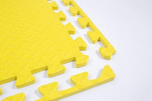 FXB Schaumstoffmatte mit Rändern, ineinandergreifende Puzzlefliesen, 61,5 x 61,5 x 1,2 cm, Bodenbelag, rutschfest, für Zuhause, Workout, Fitness, Pilates, Outdoor-Garage (gelb, 44 Matten – 16,4 m²)