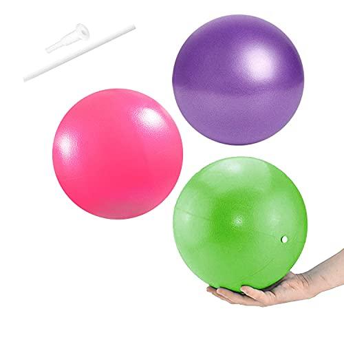 Gymnastikball, 3 PCS 25cm Gymnastikball Klein, Soft Pilates Ball Anti-Burst Yoga Übungsball Fitness Ball Therapieball für Yoga, Heim, Büro