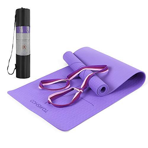 TOMSHOO Gymnastikmatte, rutschfest Hautfreundliche Yogamatte mit Tragegurt, Phthalatfreie Fitnessmatte mit Ausrichtungslinien für Yoga, Fitniss, Gymnastik, Training, Workout, Pilates 183 x 61 x 0,6cm