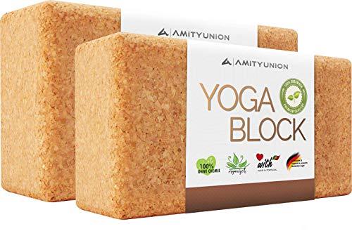 VERGLEICHSSIEGER 'SEHR GUT' Note 1,12* - Yogablock Kork Set 2 - 100% Natur - Hatha Klotz Anfänger - Sport...