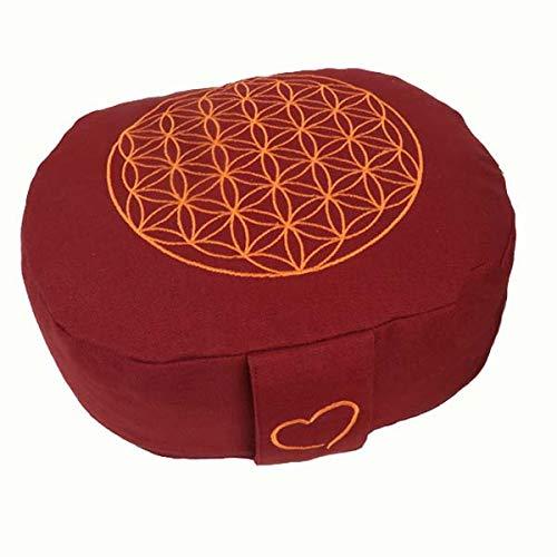 maylow Yoga mit Herz® Yogakissen Meditationskissen ' Balance ' oval Blume des Lebens (buddhistisch rot)