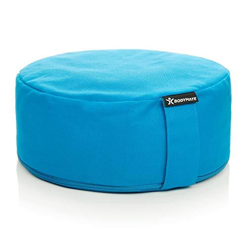 BODYMATE Yogakissen rund 31cm Durchmesser 13cm hoch Hellblau mit Buchweizen-Spelz Füllung – Maschinenwaschbarer Bezug aus 100% extra Dicker Baumwolle – Meditationskissen – Sitzkissen